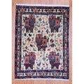Persian Hand-knotted Tribal 1960's Hamadan Ivory/ Navy Wool Rug (3'6 x 4'9)