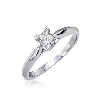 14k Gold 1/3ct TDW Certified Diamond Solitaire Engagement Ring (G-H, SI2-SI3)