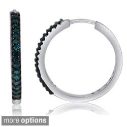 Sterling Silver 1/4ct TDW Black or Blue Diamond Hoop Earrings