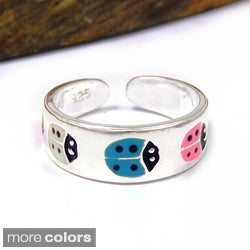 Multicolor Lady Bug .925 Silver Toe or Pinky Ring (Thailand)