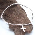 Simple Elastic Silver Bead Bracelet with Cross Charm (Thailand)