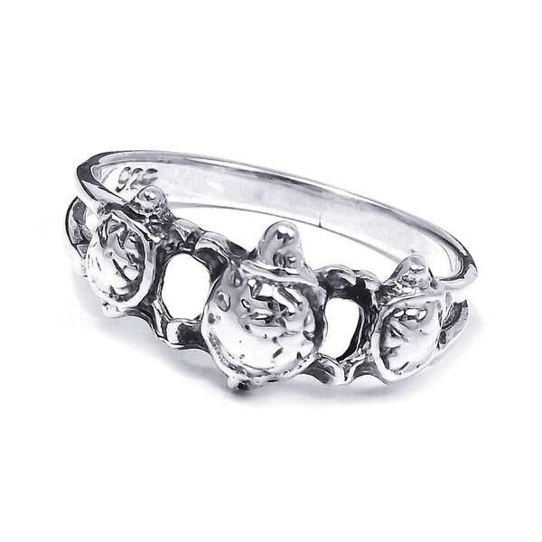 Cute Triple Sea Turtle .925 Silver Ring (Thailand)