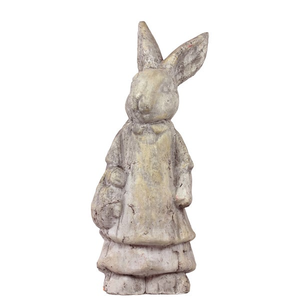 30-Inch-Tall Gray-Finish Stoneware Rabbit