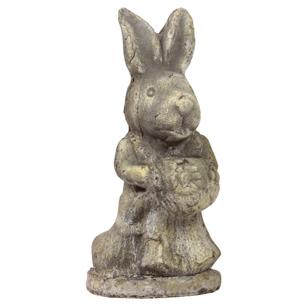 15-Inch-Tall Gray-Finish Stoneware Rabbit