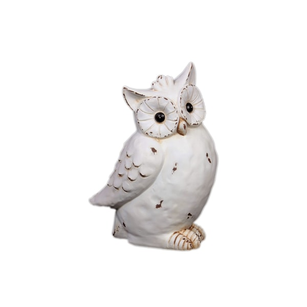 Urban Trends Collection White Antique Finished Ceramic Owl