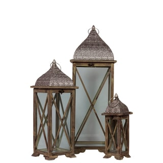 Brown Wooden/ Metal Lantern 3-piece Set
