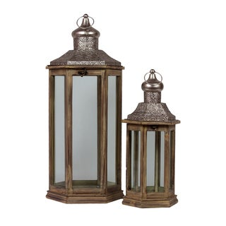 Urban Trends Collection Brown Wooden/ Metal Lantern Set (Set of 2)