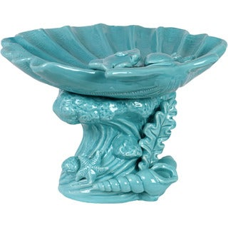 Urban Trends Collection Decorative Blue Ceramic Seashell Platter