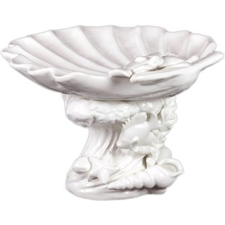 Urban Trends Collection Decorative White Ceramic Seashell Platter