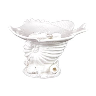 Urban Trends Collection White Ceramic Seashell Platter