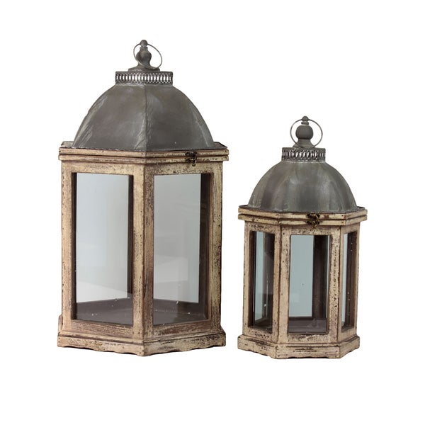 Urban Trends Collection Wooden Lantern (Set of 2)