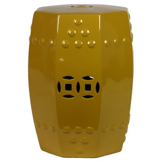 Urban Trends Collection 18-inch Yellow Ceramic Stool