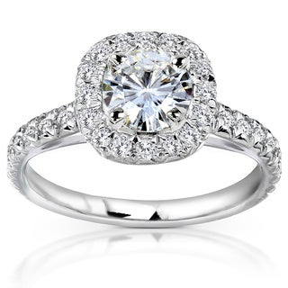 Annello 14k White Gold Moissanite and 2/5ct TDW Diamond Engagement Ring (G-H, I1-I2)