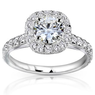 14k White Gold Moissanite and 2/5ct TDW Diamond Engagement Ring (G-H, I1-I2)