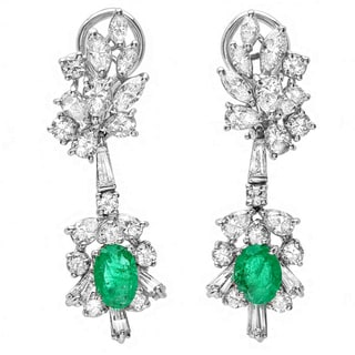 Roberto Martinez 18k Gold Emerald and 2 1/2ct TDW Diamond Estate Earrings (G-H, SI1-SI2)