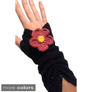 Crochet Knit Fingerless Goves with Flower Applique