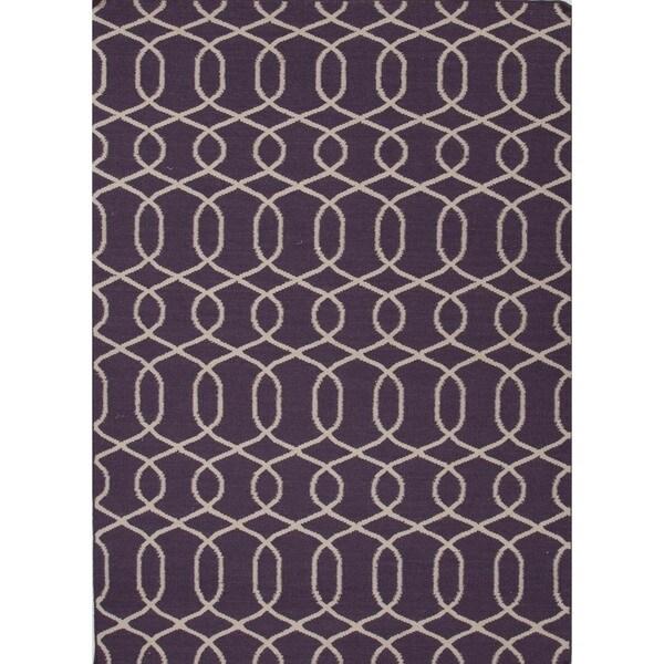 Handmade Flat Weave Moroccan Purple Wool Rug (8' x 10')