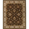 Hand-tufted Traditional Beige/ Brown Wool Oval Rug (8' x 10')