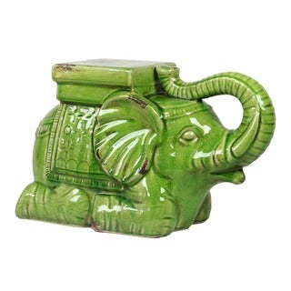Ceramic Antique Green Elephant