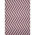 Handmade Modern Flat-Weave Striped Purple Wool Rug (2' x 3')