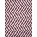 Handmade Flat Weave Stripe Purple Wool Rug (5' x 8')