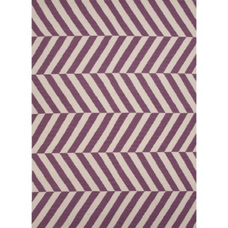 Handmade Flat Weave Stripe Purple and Antique White Wool Rug (9' x 12')