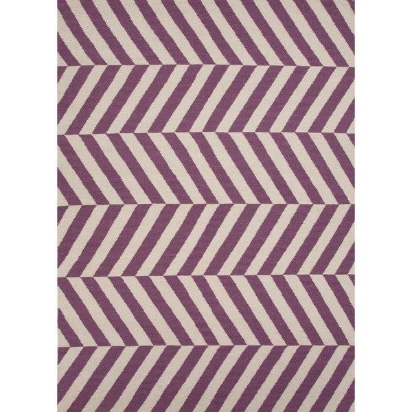 Handmade Flat Weave Stripe Purple and Antique White Wool Rug (9' x 12')