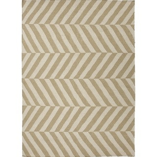 Handmade Flat Weave Stripe Beige/Brown Wool Area Rug (5' x 8')