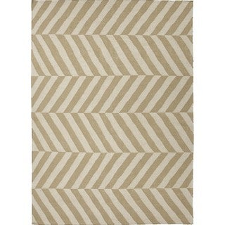 Handmade Flat Weave Stripe Beige/Brown 100-Percent Wool Rug (8' x 10')