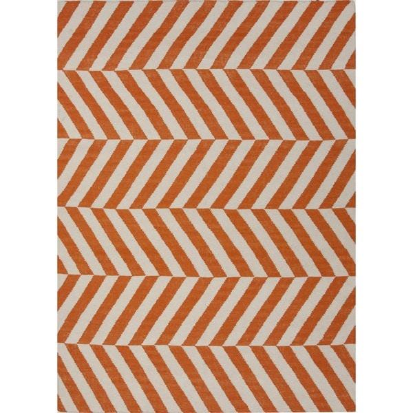 Handmade Flat Weave Stripe Red/ Orange Wool Rug (8' x 10')