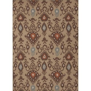 Handmade Flat Weave Tribal Beige/ Brown Wool Rug (5' x 8')