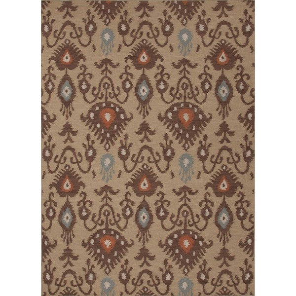 Handmade Flat Weave Tribal Beige/ Brown Wool Rug (9' x 12')