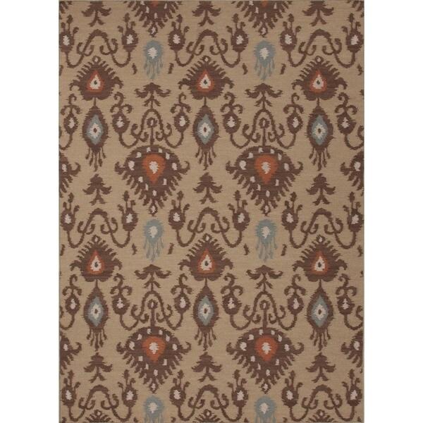 Handmade Flat Weave Tribal Beige/ Brown Wool Runner (2'6 x 8')