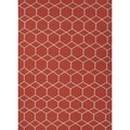 Handmade Flat-weave Geometric Red/ Orange Wool Area Rug (5' x 8')