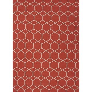 Handmade Flat-Pile Flat-Weave Geometric Red/Orange Wool Rug (8' x 10')