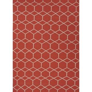 Handmade Flat-Pile Flat-Weave Geometric Red/Orange Wool Rug (8' x 10')