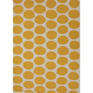 Handmade Flat Weave Geometric Gold/ Yellow Wool Rug (9' x 12')