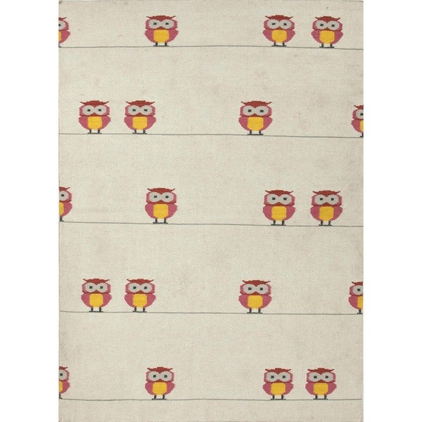 Handmade Flat Weave Owl Print Pink Wool Rug (8' x 10')