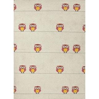 Handmade Flat Weave Owl Print Pink Wool Rug (9' x 12')