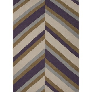 Handmade Flat Weave Stripe Purple Wool Rug (8' x 10')