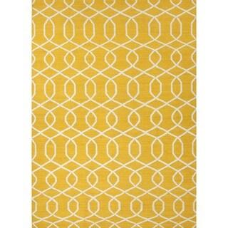 Handmade Flat Weave Geometric Gold/ Yellow Wool Rug (5' x 8')