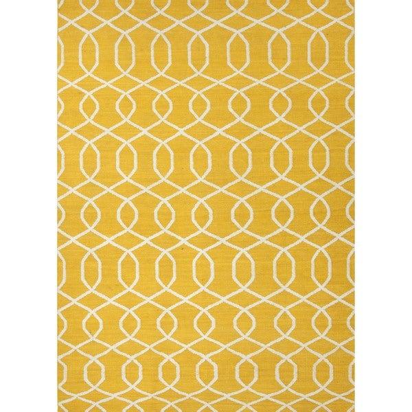 Handmade Flat Weave Geometric Gold Yellow Wool Rug 5 X 8