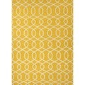 Handmade Flat Weave Geometric Gold/ Yellow Wool Rug (5' x 8')