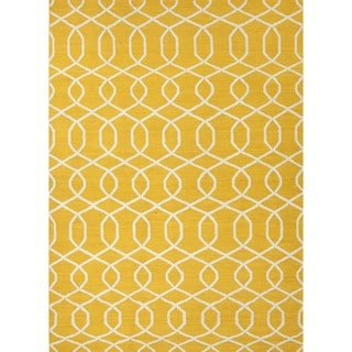 Handmade Flat Weave Geometric Gold/Yellow Wool Area Rug (9' x 12')
