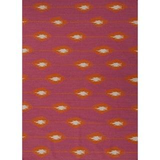 Handmade Flat Weave Tribal Pink Wool Rug (9' x 12')