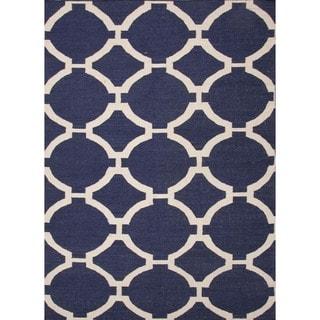 Handmade Flat Weave Geometric Blue Wool Rug (5' x 8')