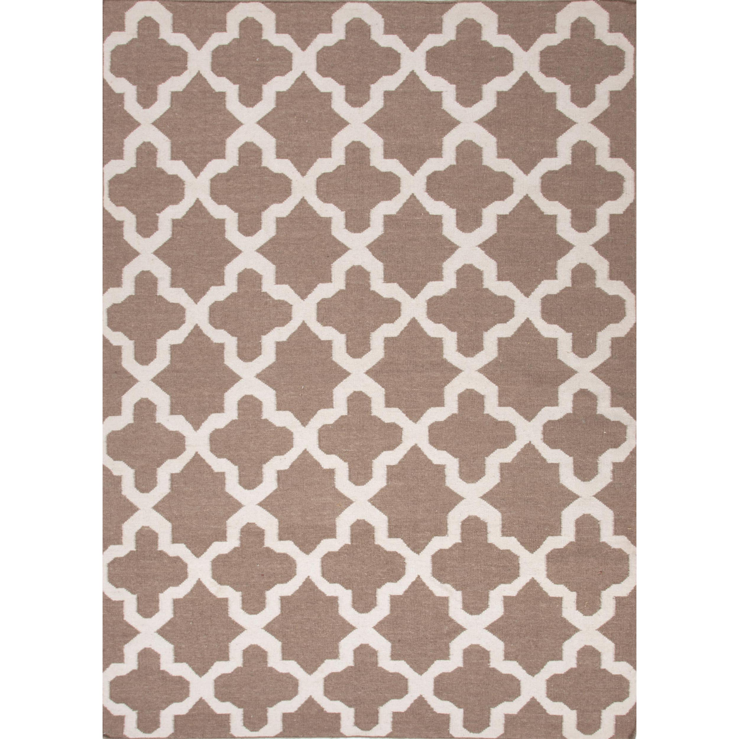 Rectangular Handmade Flat Weave Geometric Beige/ Brown Wool Rug (9' x 12')