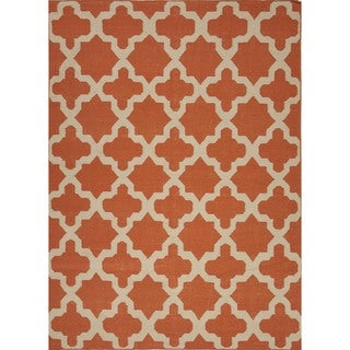 Handmade Flat Weave Geometric Red/ Orange Wool Rug (3'6 x 5'6)