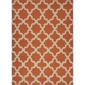 Handmade Flat Weave Geometric Red/ Orange Wool Rug (8' x 10')