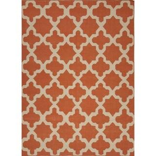 Handmade Flat Weave Red/ Orange Wool Runner Rug (2'6 x 8')